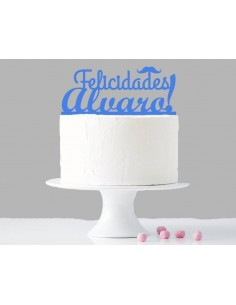 Topper para tarta felicidades personalizado niño