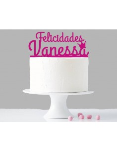 Topper para tarta felicidades personalizado niña