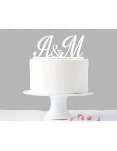 Topper para tarta iniciales