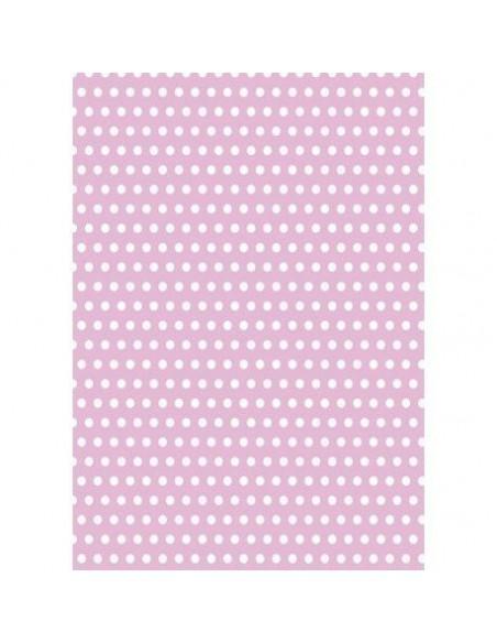 Papel de azúcar rosa con lunares blancos