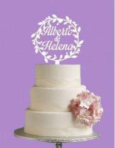 Topper para tarta boda floral