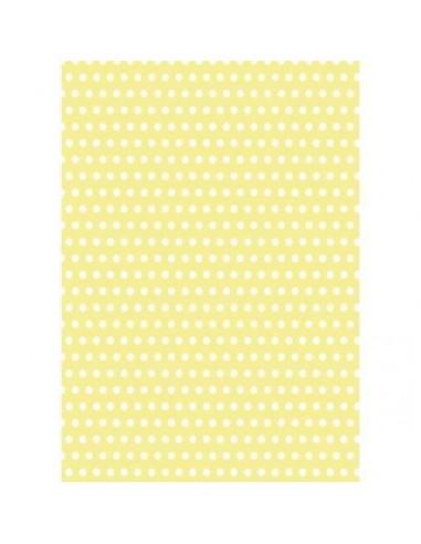 Papel de azúcar amarillo con lunares blancos