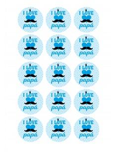 Papel de azúcar día del padre I Love Papá