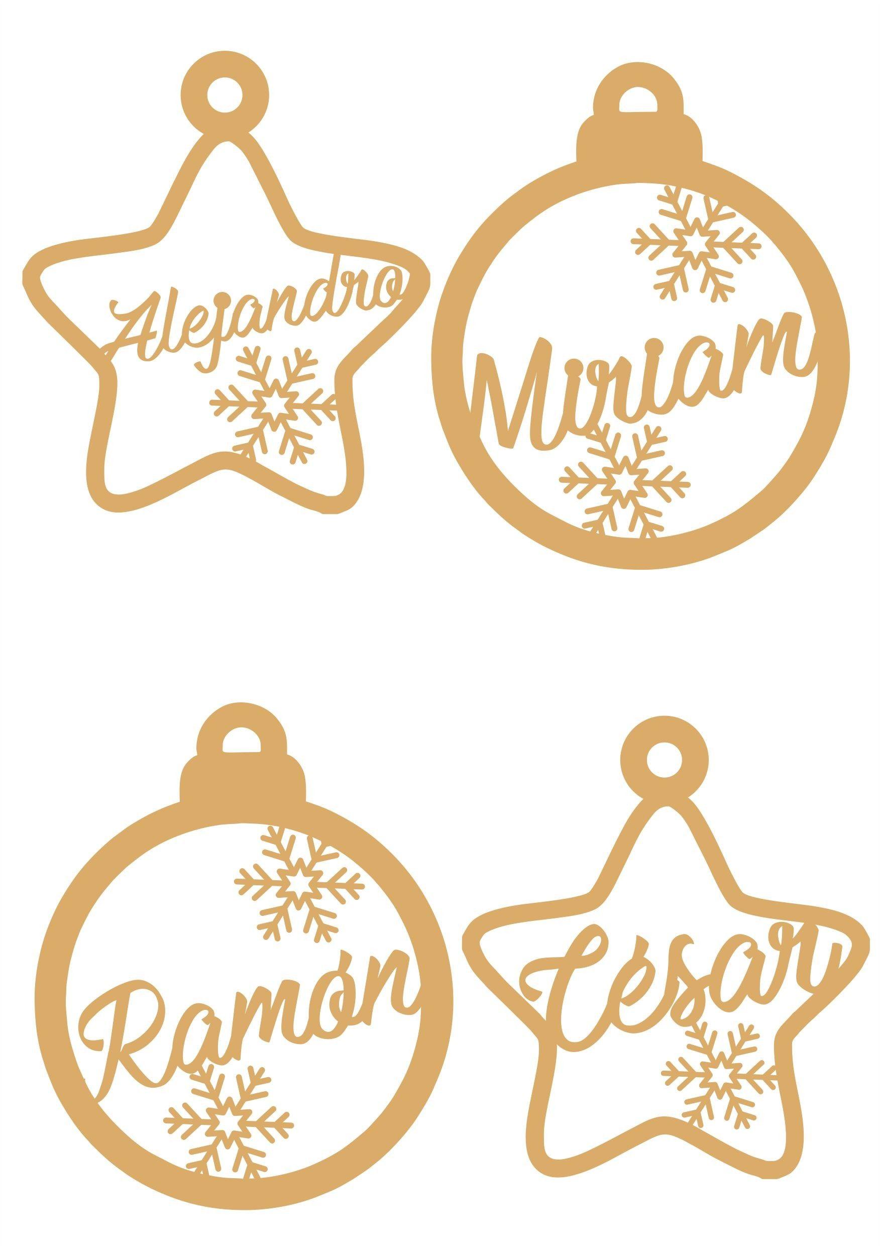 Set de 4 adornos navideos personalizados para decorar el rbol