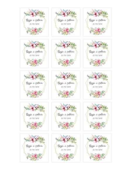 Papel de azúcar de boda floral modelo 1 para galletas