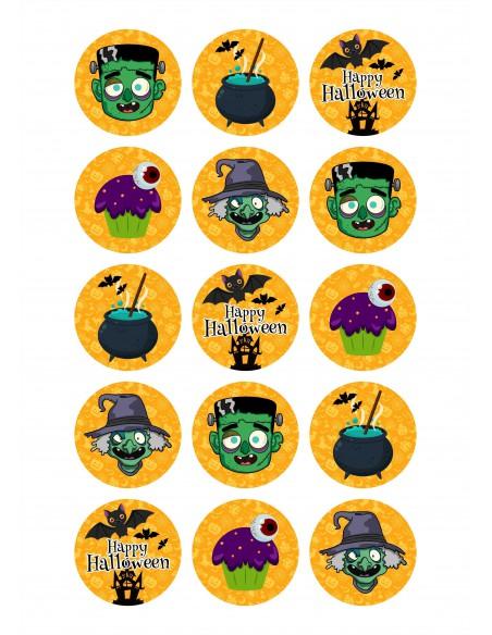 Papel de azúcar Monstruos Halloween para galletas