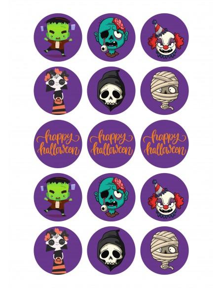 Papel de azúcar Monstruos Happy Halloween para galletas