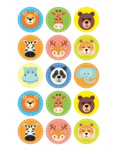 Papel de azúcar caras de animales