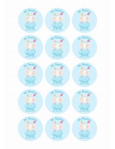 Papel de azúcar para galletas de bautizo niño modelo Elefante
