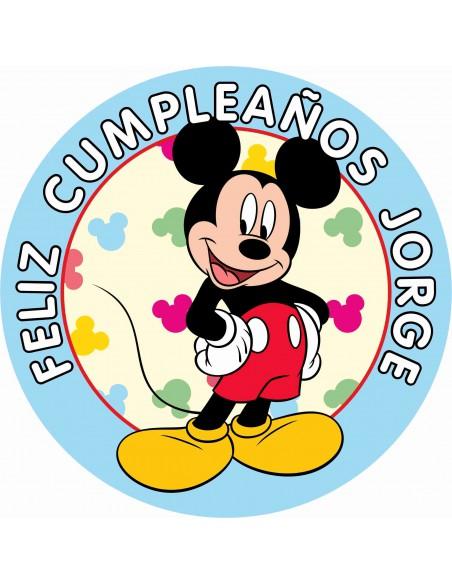 Papel de azúcar personalizado para tarta de cumpleaños Mickey