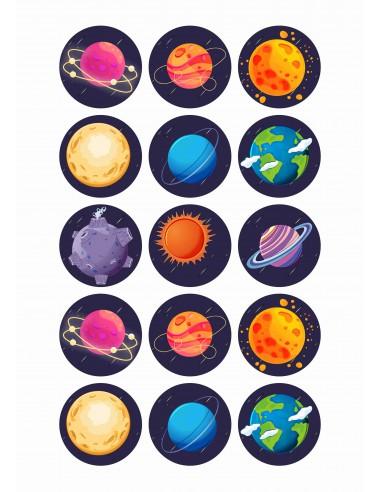 Papel de azúcar Planetas
