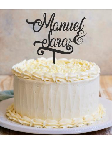 Topper para tarta boda nombres personalizados