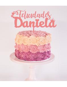 Topper para tarta felicidades personalizado nombre