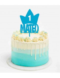 Topper tarta Corona Cumpleaños