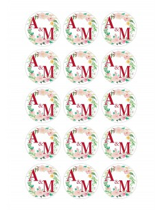 Papel de azúcar boda floral con iniciales