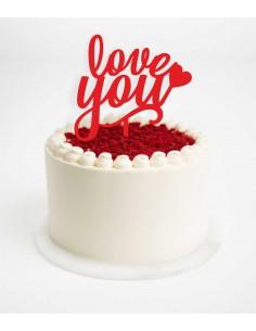 Topper Love You para tarta