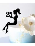 Topper tarta Chica sentada