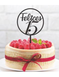 Topper tarta circulo felices edad