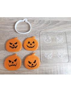 Sello Caras Halloween + cortador de calabaza