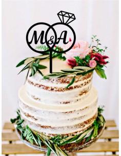 Topper tarta alianzas con iniciales