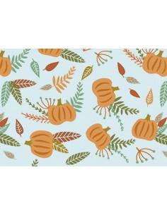 Papel de azúcar calabazas y hojas otoño