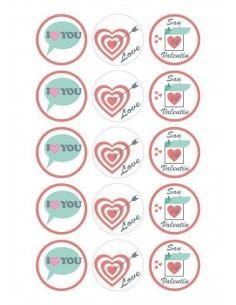 Papel de azúcar San Valentín para galletas